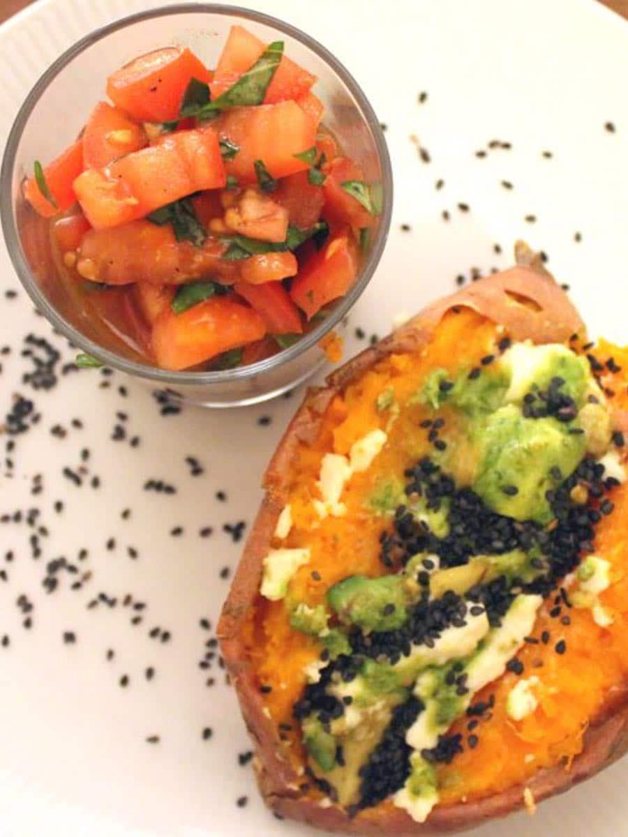 Gefuellte Suesskartoffeln gesundes Rezept clean eating