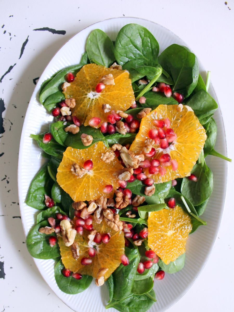 Spinatsalat mit Orangen und Granatapfel vorschau